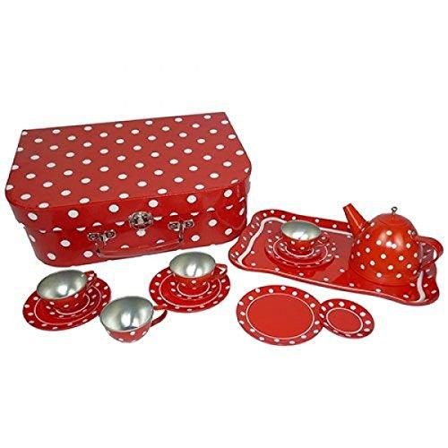Holzspielzeug Peitz Picknickkoffer   Kinder-Teeservice   Kinder-Kaffeeservice   Metall rot mit weissen Punkten Picknickkoffer   Teller   Tassen   Tablett