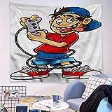 Tapiz para decoración de pared, diseño de ojos locos, 150 cm de largo x 140 cm de ancho
