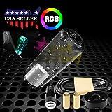 JDMBESTBOY LED Light RGB Shift Knob Stick Crystal Transparent Bubble Gear Shifter 10cm