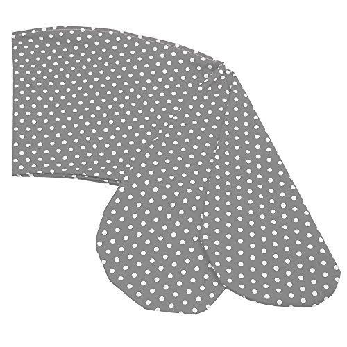 Sugarapple Ersatz Stillkissenbezug 170 cm für die Sugarapple Still- & Seitenschläferkissen, Bezug aus 100% Baumwolle mit Reißverschluss, Punkte grau