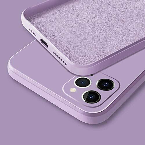 WGOUT Funda de teléfono de Silicona líquida Cuadrada Original de Lujo para iPhone 12 11 Pro MAX Mini XS X XR 7 8 Plus SE 2 Funda de Caramelo Fina y Suave, púrpura, para iPhone 12 Mini
