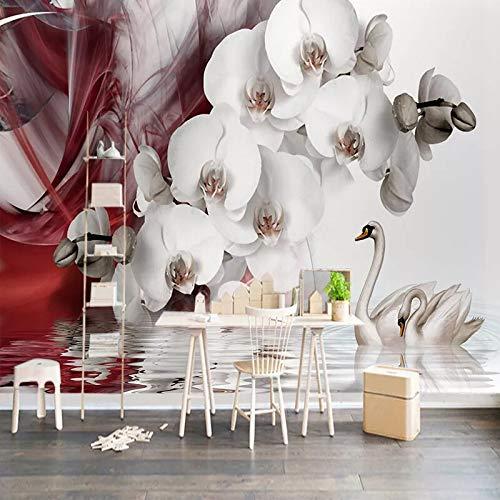 Papel pintado mural imagen 3D Papel pintado Mural 3D personalizado de cualquier tamaño, moderno, romántico, con flores, cisne, restaurante, sala de estar, TV, Fondo, decoración de pared, pintura