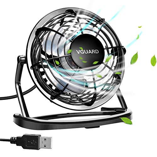 VGUARD 4 Pulgadas Mini Ventilador USB Silencioso, Ventilador de Mesa Potente USB Fan con Ajustable 360 Grados de Rotación para Personal Portátil de Escritorio Hogar Oficina o Viaje - Negro