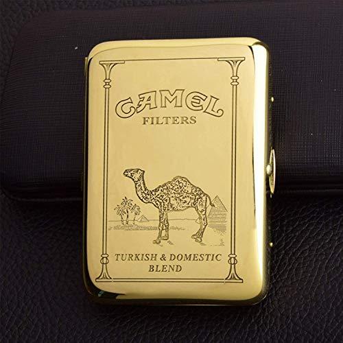 XIAOXIA Estuche portátil impermeable para cigarrillos de metal, puede contener 16 cajas de cigarrillos retro de cobre camello (color de latón, tamaño: 9,5 x 7 cm)