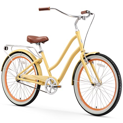 """sixthreezero EVRYjourney Women's 7-Speed Step-Through Hybrid Cruiser Bicycle, 26"""" Wheels with 17.5"""" Frame, Cream with Brown Seat and Grips, Model:630034"""