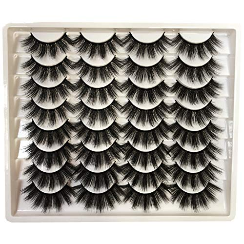 GMAGICTOBO False Eyelashes 20MM Faux Mink Lashes 16 Pairs Pack Dramatic Fake Eyelashes 2 Styles Long 5D Fluffy Thick Volume Soft Wispy Makeup Eye Lashes Multipack
