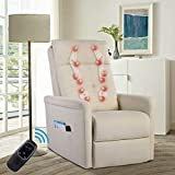 TITIMO Power Recliner Chair - Fabric Electric Elderly Recliner - Kneading VibrationMassage Chairwith 2D/3D Shiatsu Backrest, Wireless Remote Control & Side Pocket for Home Theater Living Room(Beige)