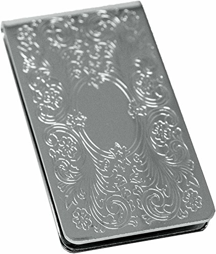 Silver Vintage Victorian Scroll Stainless Steel Boxed Money Clip