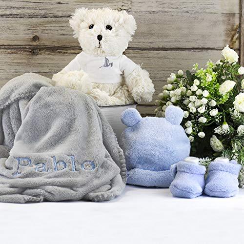 BebeDeParis | Regalos Originales para Bebés Recién Nacidos | Canastilla Bebé | Osito | Manta Bordada | Pequeño Conjunto | 3-6 Meses (Azul)