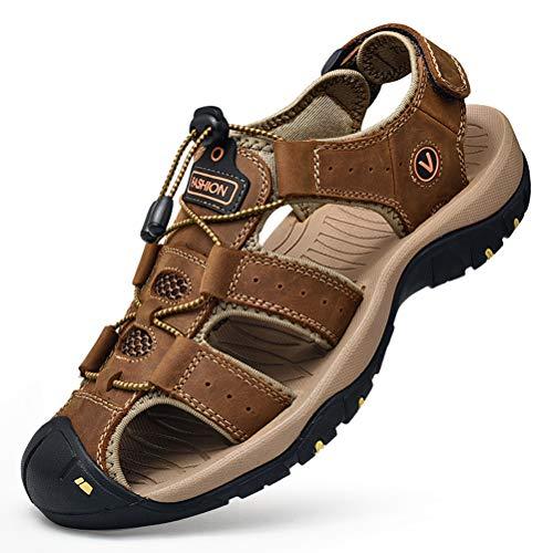 Unitysow Sandalias Hombre Verano Los Zapatillas de Senderismo Transpirable Peso Ligero Cuero Camper Deportivas Sandalias Al Aire Libre Pescador Playa Zapatos
