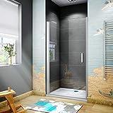 185 cm Box doccia per Nicchia Porta Battente Cristallo Temperato 5 mm Trasparente Profilo in Alluminio Processo di Elettroforesi 90 cm