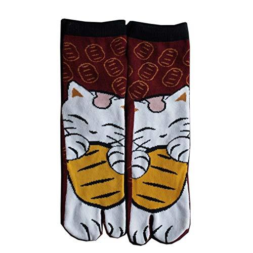 Fancy Pumpkin Calcetines de estilo japonés con sandalias de algodón con punta dividida Tabi Ninja Geta Calcetines de geisha para hombre, D