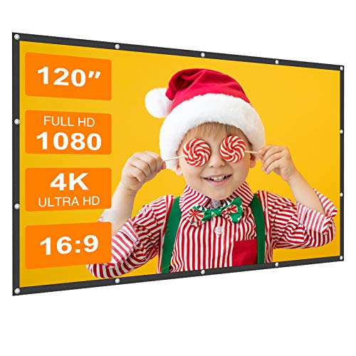 Projector Screen, Sealegend 120 Inch Portable Projection Screen 16:9 HD Foldable Wrinkle-Free Movies Screen for Home Theater Outdoor Indoor,Support Double Sided Projection