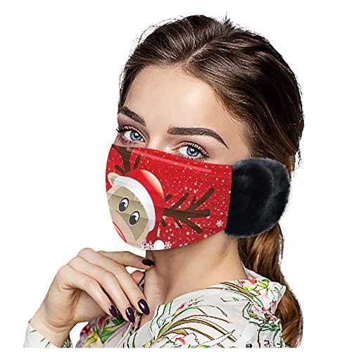 SicongHT 1/5 Stück Mund Nasenschutz, Damen Herren Winter Warm Weihnachten Waschbar Mundschutz Wiederverwendbar Atmungsaktiv Mund und Nasenschutz Stoff Gesichtsschutz(1 Stück,E)