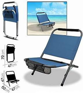 Camping Silla Plegable de Playa bars easyshop Playa Beige Claro de textileno