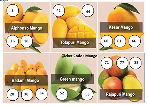 Craftgami - Mango Theme Tambola Tickets - Housie Tickets (24 Tickets)