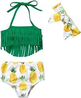 Styles I Love Infant Baby Girls Pineapple Tropical Fringe Bikini Swimsuit with Headband Bathing Suit Beach Swimwear 3pcs Set