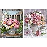 Heyu-Lotus - Kit de pintura por números, rosas, lienzo de pintura al óleo, para adultos y niños, principiantes, manualidades, 40,64 x 50,80 cm (2 unidades)