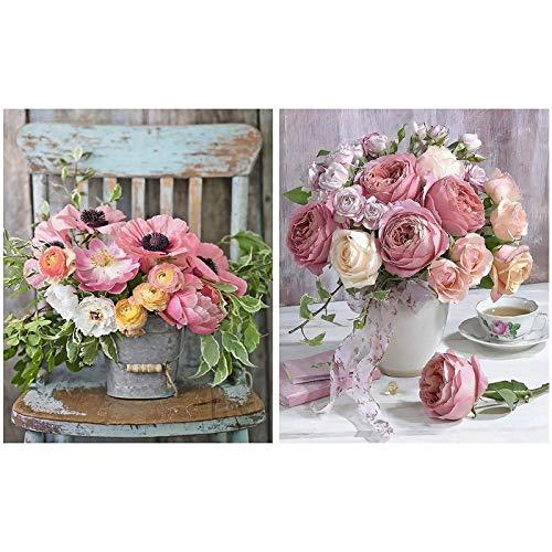 Heyu-Lotus Kit de pintura por números, flores de rosa, lienzo de pintura al óleo, para adultos y niños, principiantes, manualidades, 16 x 20 pulgadas (2 unidades)