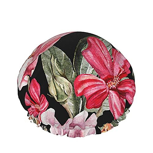 Gorro de ducha impermeable de doble capa, papel tapiz colorido abstracto, para mujeres Reutilizable, lavable, pelo largo, gorras-color_9