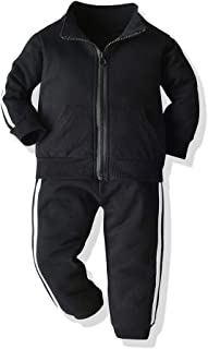 Moyikiss Studio Fashion Kids Baby Boys Girls Casual Clothes Zipper Sweatshirt+Trousers Set Striped Sportwear