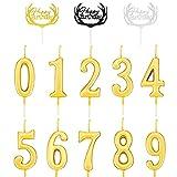 PHIEZC 10PCS Velas de Número,(0-9) Pastel Velas,Velas De Cumpleaños Oro,Adecuado para aniversario de boda, ceremonia de graduación, fiesta de cumpleaños