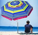 AMMSUN 6.5 ft Beach Umbrella with Sand Anchor, Portable Beach Umbrella, Outdoor Patio Umbrella UV 50+ Sun Protection, Umbrella for Beach Patio Garden Outdoor, Carry Bag (2021 Green Red Stripes)