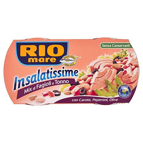 Rio Mare, Insalatissime Mix di Fagioli e Tonno Pinne Gialle con Carote, Peperoni e Olive, Senza Conservanti, 2 Lattine da 160 g