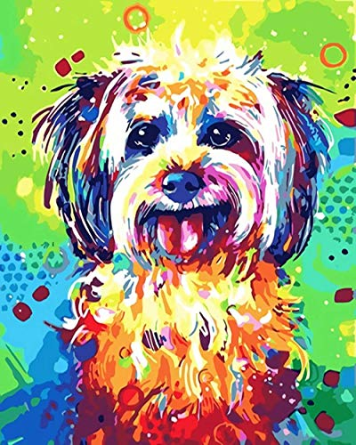 ZHIYYQ Painting by Numbers,DIY Digital Painting, Oil Painting kit for Adults and Beginners, Color Painting, Home Decoration Gift-Dog Oil Painting -40X50cm
