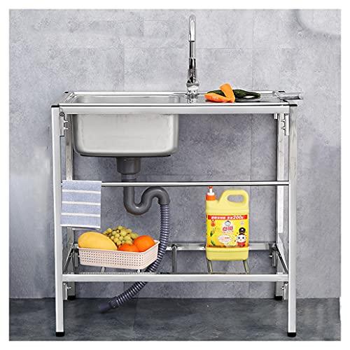 JPSHBA Fregadero Comercial de Acero Inoxidable con Grifo con Soportes,Estante Almacenamiento Cocina,Utilizado para lavandería en el Patio Trasero,Garaje al Aire Libre