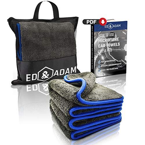 ED & ADAM - Lackschonende Mikrofasertücher zur professionellen Autopflege [2er Set] mit Aufbewahrungstasche | Saugstarkes 1200 GSM Microfasertuch | Extra großes Auto Trockentuch | 42x48cm