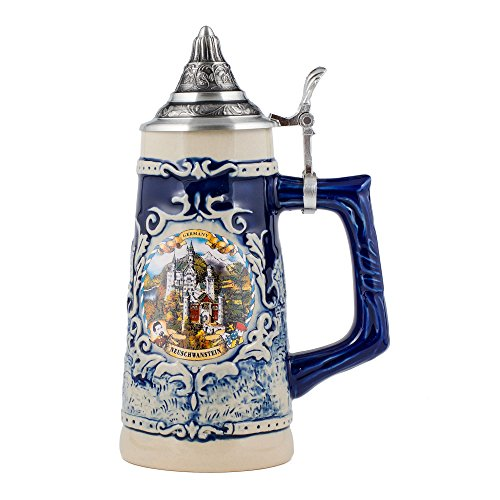 Germany Neuschwanstein Stoneware Raised Relief Decoration Half Liter Beer Stein with Pewter Lid