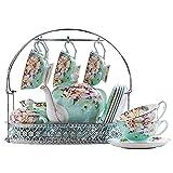 Juego de té de Porcelana de 15 Piezas con Tetera Juego de 6 Tazas de café y platillos con Soporte de Metal Juego de té de...