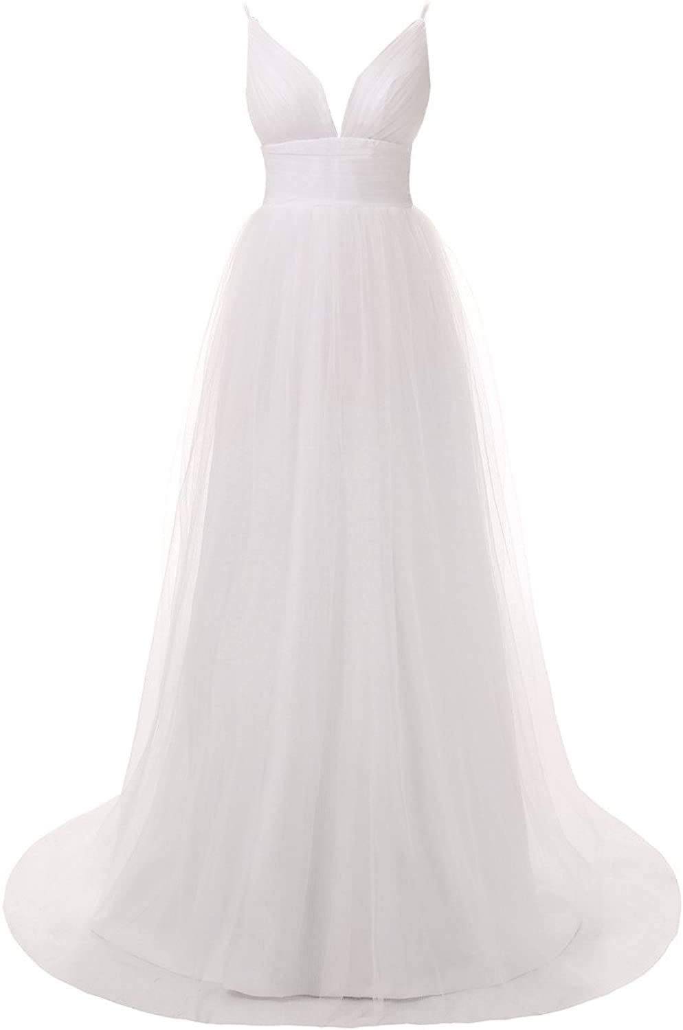 Cdress Straps Deep VNeck Long Tulle Wedding Dresses Backless Beach Bridal Gowns