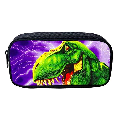 Estuche grande para lápices de dinosaurios para niños y estudiantes, estuche de maquillaje, bolsa de maquillaje, T-Rex verde