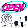 Led Open Sign for Business – Stand Out with 64 Super-Bright Color Combos to Match Your Brand, Programmable App – Neon Flash, or Scroll – 15 x 32 inch