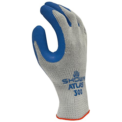 SHOWA Atlas 300S-07 Fit Palm Coating Natural Rubber Glove, Blue, Small (Pack of 12 Pairs)