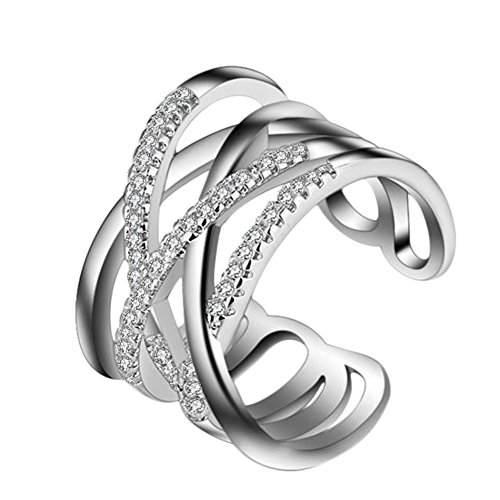 aiuin Double Line einfach Diamant Ring Kristall verstellbar offen Ringe Hochzeit Schmuck für Frauen...