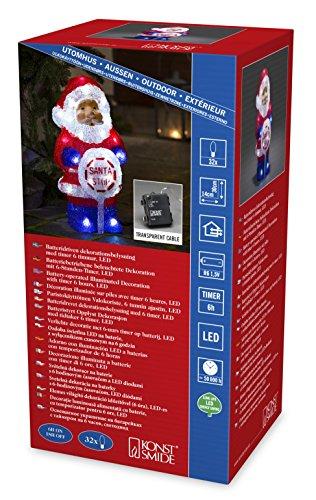 Konstsmide Babbo Natale in acrilico con luci a LED, con cartello SANTA STOP, con timer da 6 ore, 32 diodi a luce bianca fredda, funzionamento a batteria, da esterno (IP44), cavo trasparente, 4 x AA 1,5 V 6143-203