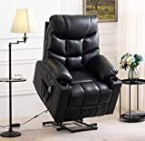 Grepatio Power Lift Recliner Chair Sofa, Electric Recliner with Massage and Heat for Elderly, Remote Control, USB Port, 2 Cup Holders, 3 Positions and 2 Side Pockets, Black PU