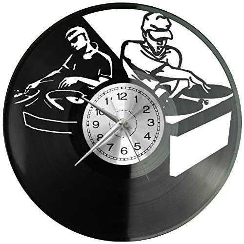 WoD Reloj de pared con nombre de DJ y vinilo, estilo retro,...