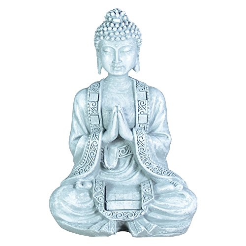 Zen Buda estatuilla Meditación Luz SBM2 2 Piedra Gris 10 x 5 x 12,5 cm