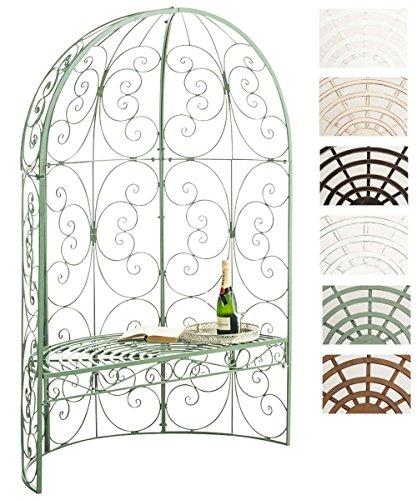 CLP Padiglione Giardino con Panca Rosie I Gazebo Padiglione in Ferro I Pergola A Semiluna Portata Max 200 kg, Colore:Antico-Verde