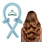 Heatless Hair Curlers For Long Hair, No Heat Silk Curls Headband You Can To Sleep In Overnight, Soft Foam Hair Rollers, Curling Ribbon and Flexible Rods for Natural Hair (Blue)