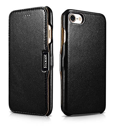 ICARER Tasche passend für Apple iPhone SE 2020, iPhone 8 & iPhone 7 (4.7 Zoll), Hülle mit Echt-Leder Außenseite, Schutz-Hülle seitlich aufklappbar, Ultra-Slim Cover, Etui, Schwarz