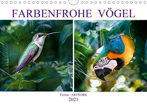 Farbenfrohe Vögel - Exoten ARTWORK (Wandkalender 2021 DIN A4 quer)