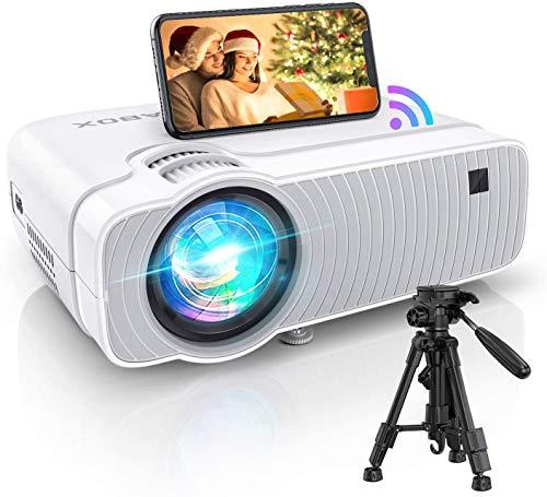WiFi Beamer 6000, Mini Beamer Wireless Unterstützt 1080P Full HD Heimkino Beamer Tragbar ABOX Projektor kompatibel mit iOS, Android, TV Stick, PS4, X-Box, AV,HDMI, SD.