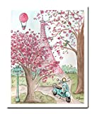 Pink Paris Wall Art, Eiffel Tower Poster, Hot Air Balloon, Vespa, Fine Art Print, 6 Sizes, Unframed
