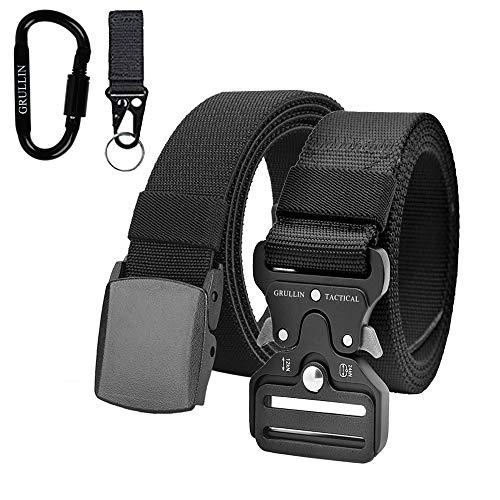 GRULLIN Men Tactical Belt Elastic Stretch Belt, Military Quick-Release Heavy Duty Nylon Belt with Metal Buckle for Men