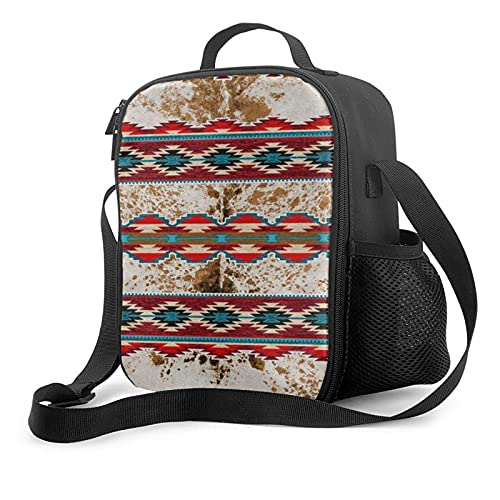 Cowhide Native American Indian Navajo Pattern Lunch Bag Insulated Lunch Box Waterproof Reusable Tote For Adults And Kids With Work Picnic Travel